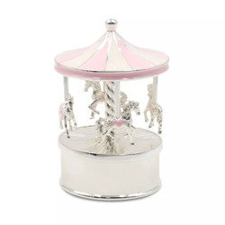 Karuzela pozytywka z masy perłowej - różowa, koniki 473-3401
