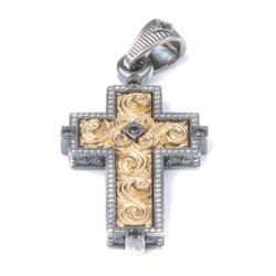 Krzyż Srebrny Męski pr 925 nowoczesny wzór modowy PRZYW007