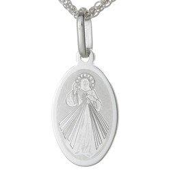 Medalik srebrny (1,5 g) - Jezus Miłosierny grawerowany owalny  MK035