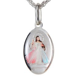 Medalik srebrny (1,6 g) - Jezus Miłosierny kolorowy owalny  MK036