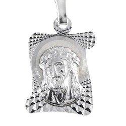 Medalik srebrny diamentowy - Jezus w koronie cierniowej D130MD28