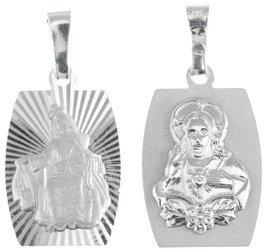 Medalik srebrny diamentowy - Matka Boska Szkaplerzna Szkaplerz dwustronny MD033