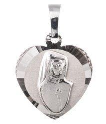 Medalik srebrny diamentowy - Święta Siostra Faustyna MD50