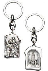 Metalowy brelok dwustronny z wizerunkiem Świętego Krzysztofa i Matki Boskiej Fatimskiej