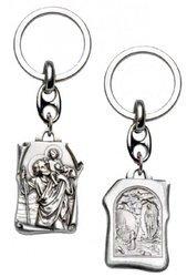Metalowy brelok dwustronny z wizerunkiem Świętego Krzysztofa i Matki Boskiej Lourdes