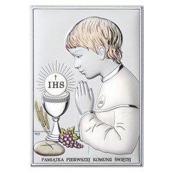 Obrazek Srebrny Pamiątka I Komunii dla chłopca prostokąt z podpisem kolor DS04CO