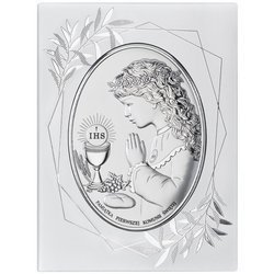 Obrazek Srebrny Pamiątka I Komunii dla dziewczynki owal z podpisem w ramie DS05FOA