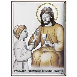Obrazek Srebrny Pamiątka I Komunii dla dziewczynki prostokąt z podpisem DS45CO