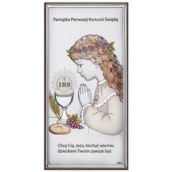 Obrazek Srebrny Pamiątka I Komunii dla dziewczynki prostokąt z podpisem kolor DS30CA