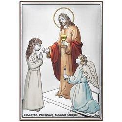 Obrazek Srebrny Pamiątka I Komunii dla dziewczynki prostokąt z podpisem kolor DS31CA
