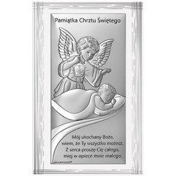 Obrazek srebrny Aniołek z latarenką Pamiątka Chrztu 6727F