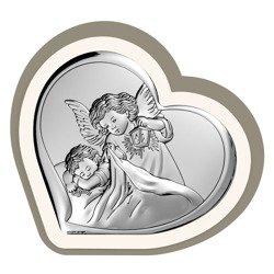Obrazek srebrny Aniołek z latarenką Pamiątka Chrztu Świętego 6448CC