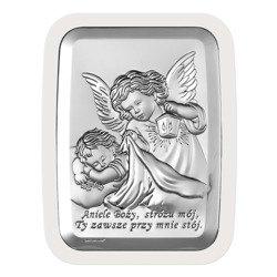 Obrazek srebrny Aniołek z latarenką z podpisem 6441W