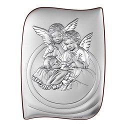 Obrazek srebrny Aniołki nad dzieckiem Pamiątka Chrztu Świętego 6581