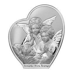 Obrazek srebrny Aniołki nad dzieckiem Pamiątka Chrztu Świętego 6592SB