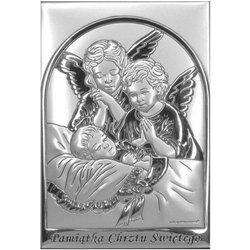 Obrazek srebrny Aniołki nad dzieckiem z podpisem 6588