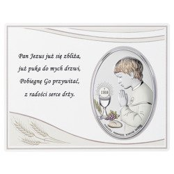 Panel z obrazkiem srebrnym Pamiątka I Komunii dla chłopca DS08051CO