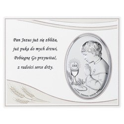 Panel z obrazkiem srebrnym Pamiątka I Komunii dla chłopca DS08051O