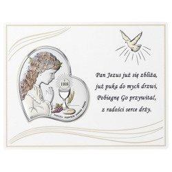 Panel z obrazkiem srebrnym Pamiątka I Komunii dla dziewczynki DS08031CA