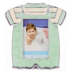 Ramka dziecięca z masy perłowej - niebieska, ubranko 473-3194