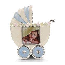 Ramka dziecięca z masy perłowej - niebieska, wózek 473-3334