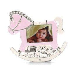 Ramka dziecięca z masy perłowej - różowa, konik 473-3335