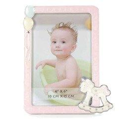 Ramka dziecięca z masy perłowej - różowa, konik, balony 473-3327