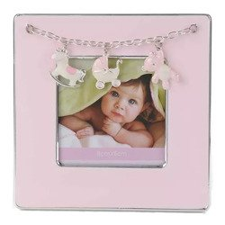 Ramka dziecięca z masy perłowej - różowa, konik, wózek, miś 473-3313