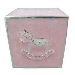Skarbonka dziecięca z masy perłowej - różowa kostka, konik 473-3261