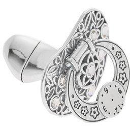 Smoczek srebrny  z zegarem BIAŁE CYRKONIE pr 925 SM15 OTWIERANY MIEJSCE NA PIERWSZY ZĄBEK