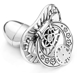 Smoczek srebrny  z zegarem I STÓPKAMI BIAŁĄ CYRKONIA pr 925 SM21