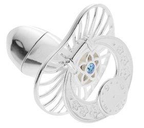 Smoczek srebrny  z zegarem NIEBIESKA CYRKONIA pr 925 SM17 MIEJSCE NA PIERWSZY ZĄBEK