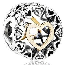 Srebrna przywieszka pr 925 Charms ażur złote serce PAN195