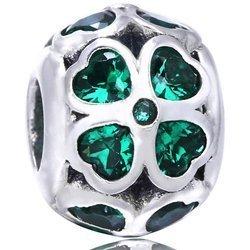Srebrna przywieszka pr 925 Charms koniczyna zielone serca cyrkonie PAN198