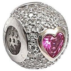 Srebrna przywieszka pr 925 Charms kulka różowe serce cyrkonie PAN199