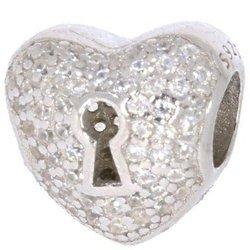 Srebrna przywieszka pr 925 Charms serce cyrkonie dziurka od klucza PAN005