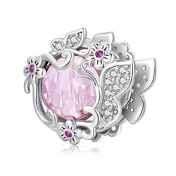 Srebrna przywieszka pr 925 Charms wiszący obrotowe serce - Mamo masz złote serce PAN223