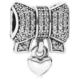 Srebrna przywieszka prezent na mikołajki pr 925 Charms kokarda cyrkonie wiszące serce PAN205