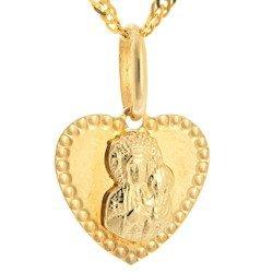 Złoty medalik pr. 585 M.B. Częstochowska serce nitowane ZM050