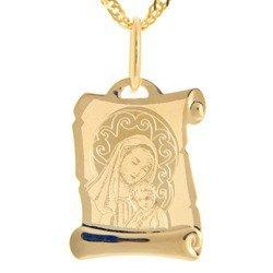 Złoty medalik pr. 585 Madonna z dzieciątkiem papirus ZM036