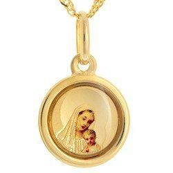Złoty medalik pr. 585 Matka Boska z dzieciątkiem koło ramka kolor  ZM075