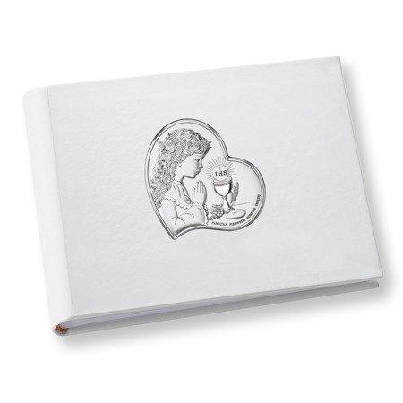 Album z obrazkiem srebrnym Pamiątka I Komunii dla dziewczynki DS0703A
