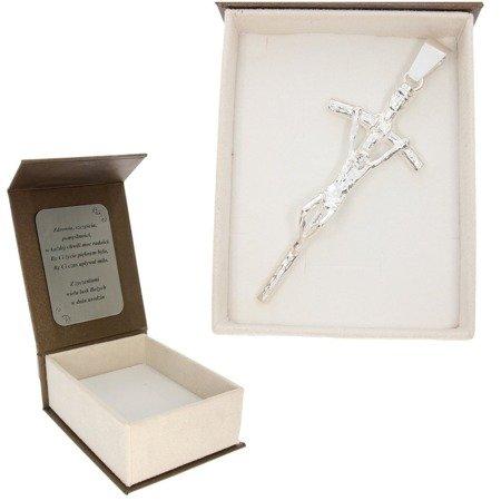 Duży srebrny krzyż Papieski w pudełku z dedykacją  srebro pr 925 MO110/BA-8