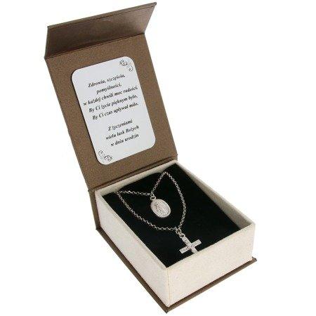 Łańcuszek celebrytka chrześcijańska krzyżyk + medalik. srebro pr 925 CEL48/BA-6