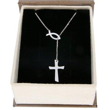 Łańcuszek celebrytka chrześcijańska krzyżyk + rybka. srebro pr 925 CEL41