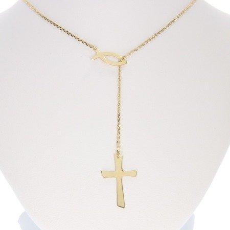 Łańcuszek celebrytka chrześcijańska krzyżyk + rybka. srebro pr 925 CEL42