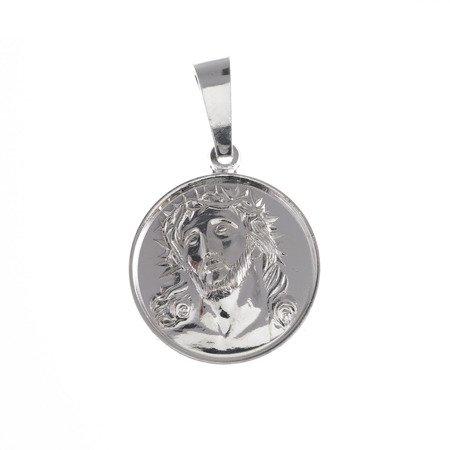 M66 Medalik srebrny - Jezus w koronie cierniowej