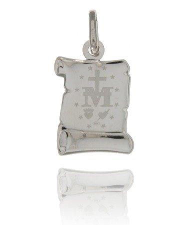 Medalik srebrny (1,6 g) - Matka Boża Niepokalana Cudowny medalik papirus MK015