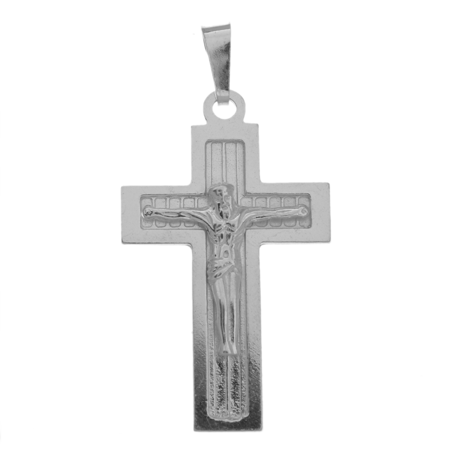 Medalik srebrny - Krzyżyk z wizerunkiem Jezusa MO143
