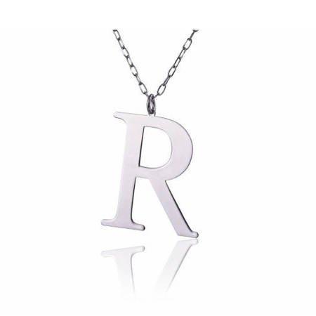 Naszyjnik celebrytka literka R 3,0 cm srebro rodowane pr 925 CELR3CM